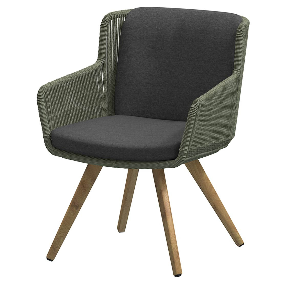 Flores dining chair Teak legs Green with 2 cushions