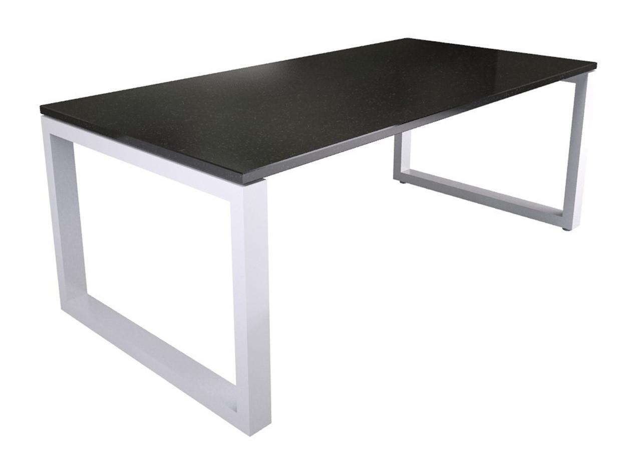 Dunkle Naturstein Tischplatte mit weißer Gestell
