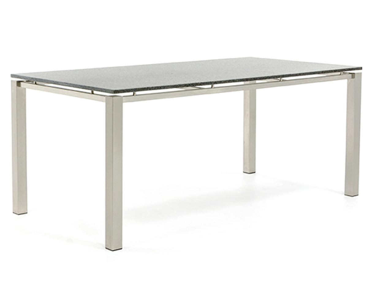 Gartentisch aus Edelstahl mit Tischplatte aus Naturstein