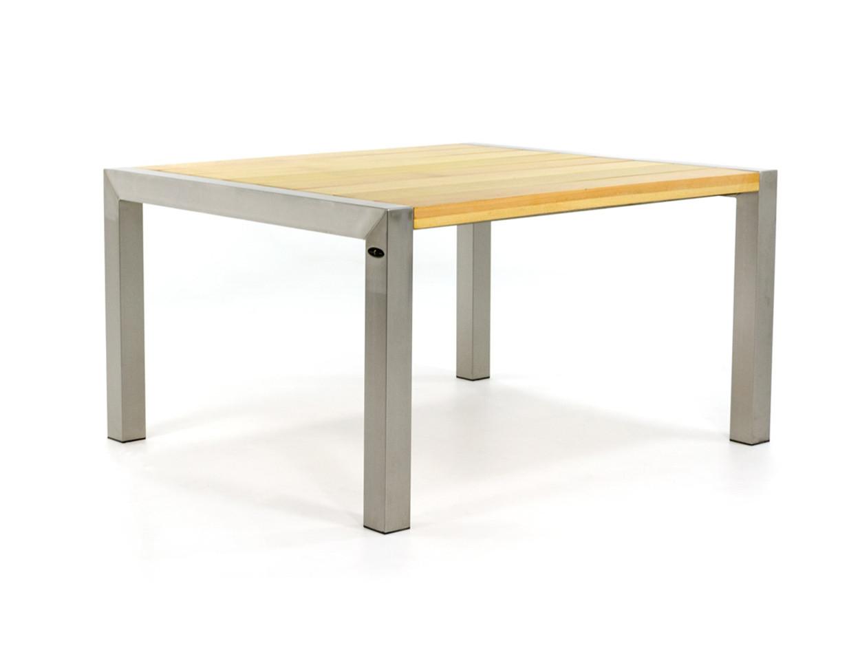 Gartentisch aus Edelstahl mit Holz Tischplatte