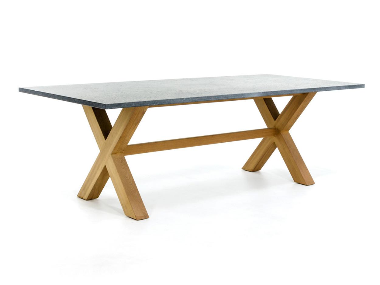 Belgischer Kalkstein Gartentisch aus Kalkstein mit Kreuzfuß aus Holz