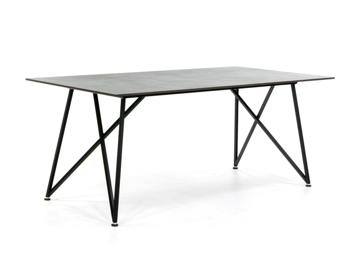 Design Tisch mit Dekton Platte und Stahlrahmen