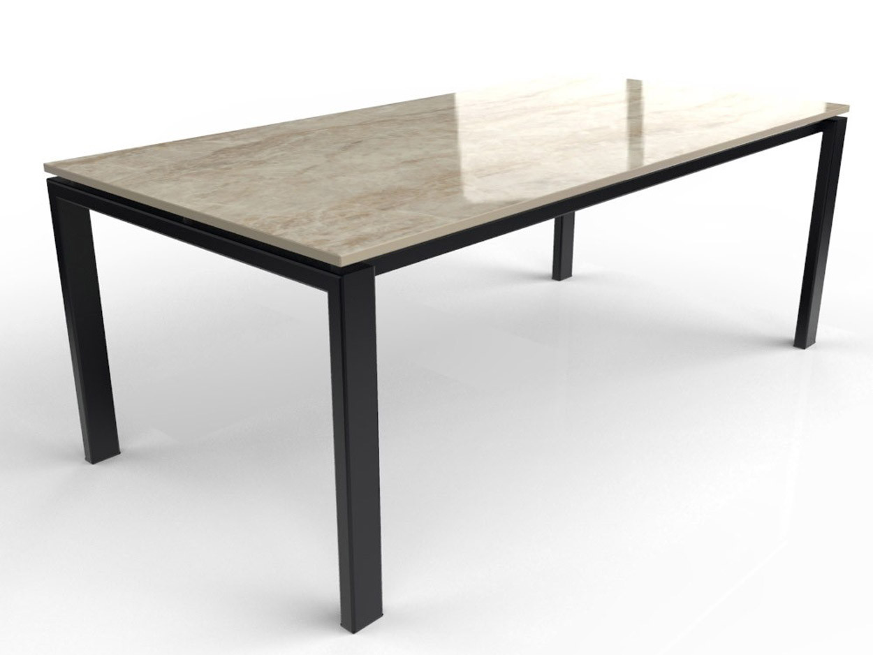 Esstisch mit Dekton Platte mit Tischbeinen aus beschichtetem Stahl