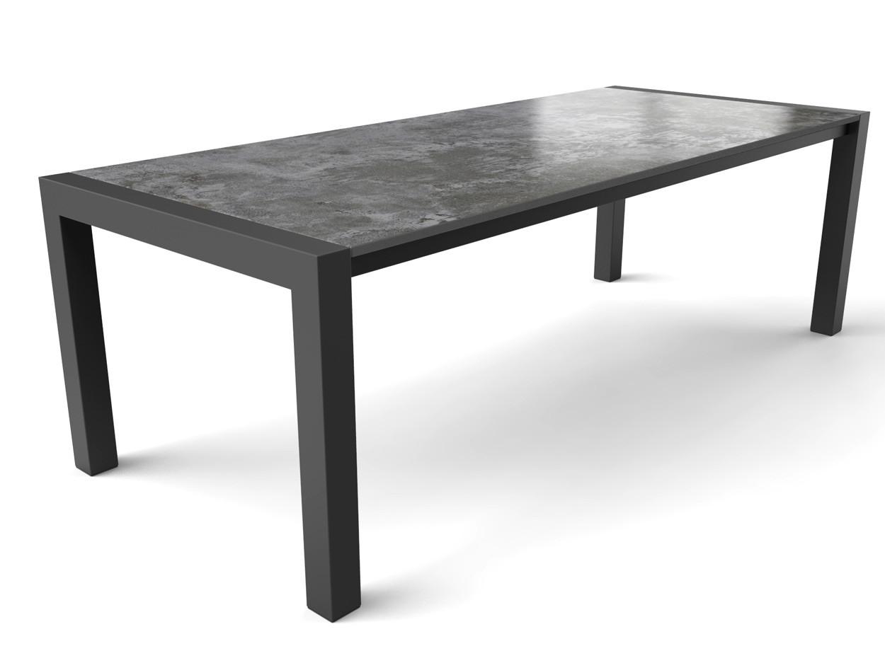 Industrieller Dekton-Tisch mit Dekton Orix-Platte und beschichtetem Stahl Tischgestell