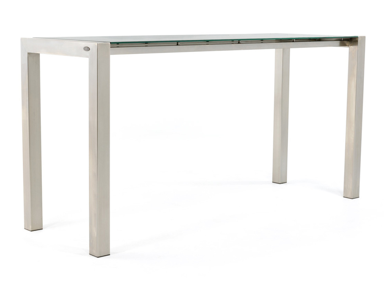 Stehtisch aus Edelstahl mit Tischplatte aus Glas