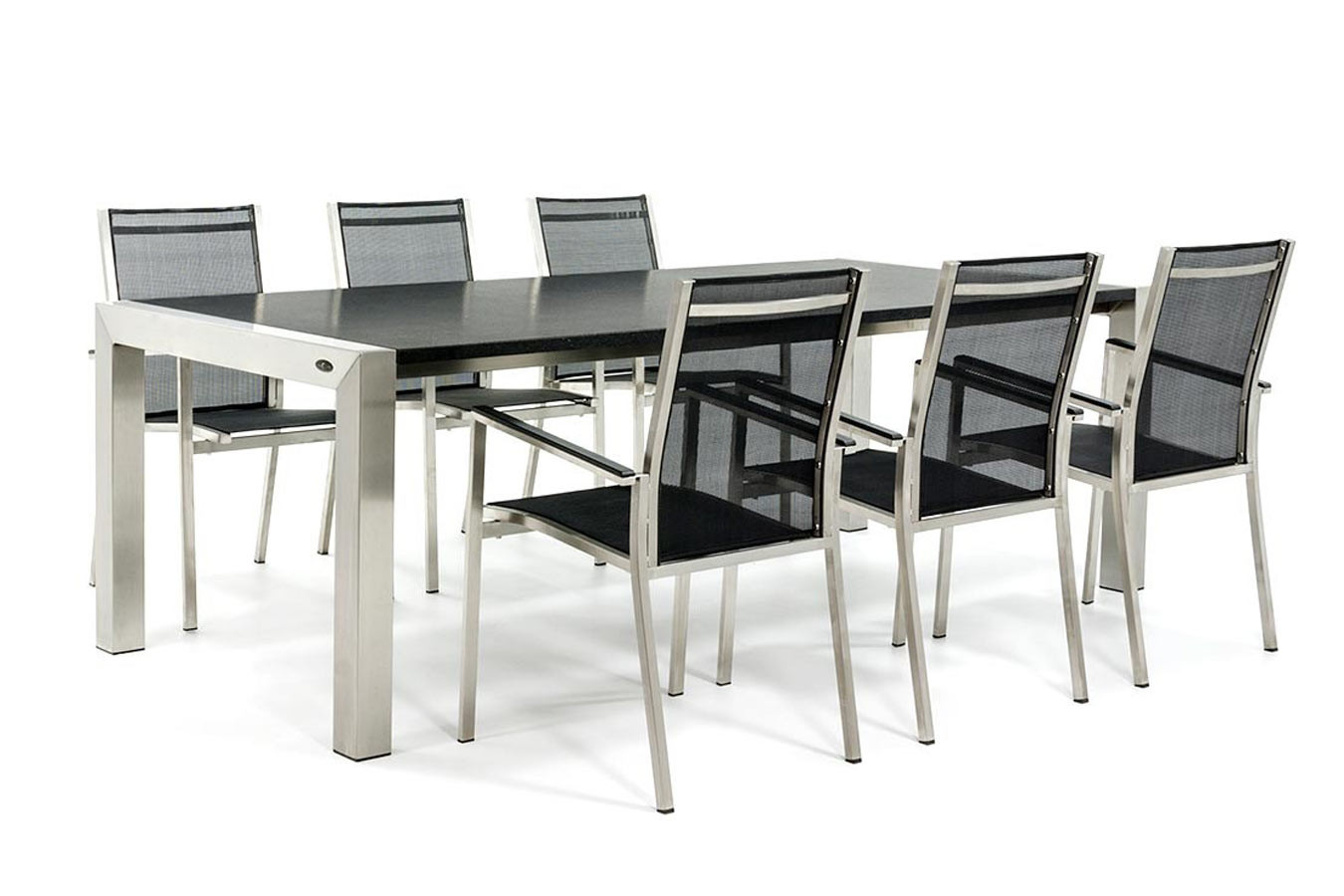 Granit Gartentisch mit Gartenstühlen aus Edelstahl