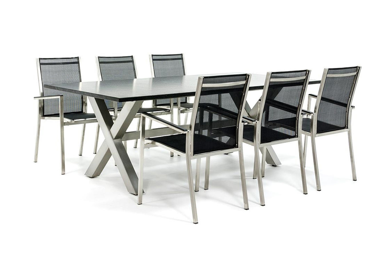 Gartentisch aus Edelstahl mit textilen Gartenstühlen aus Edelstahl