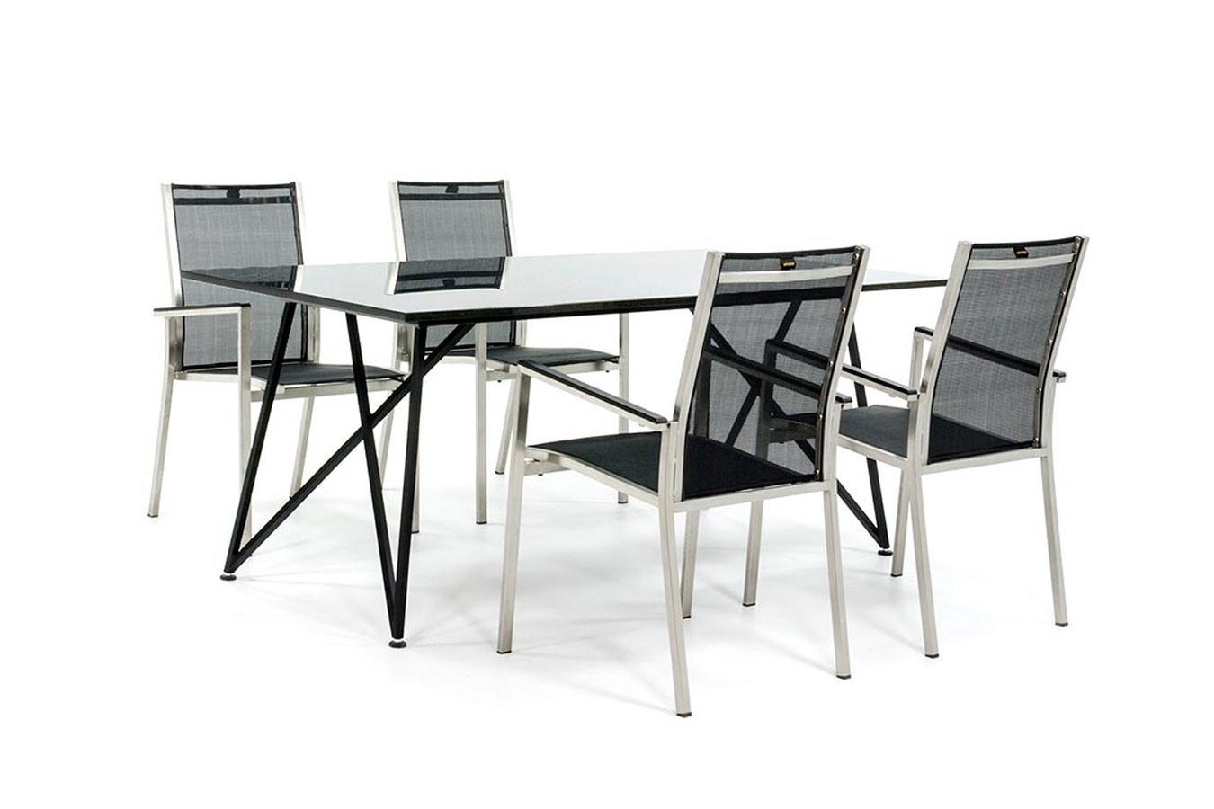 Designer Gartentisch mit Gartenstühlen aus Edelstahl