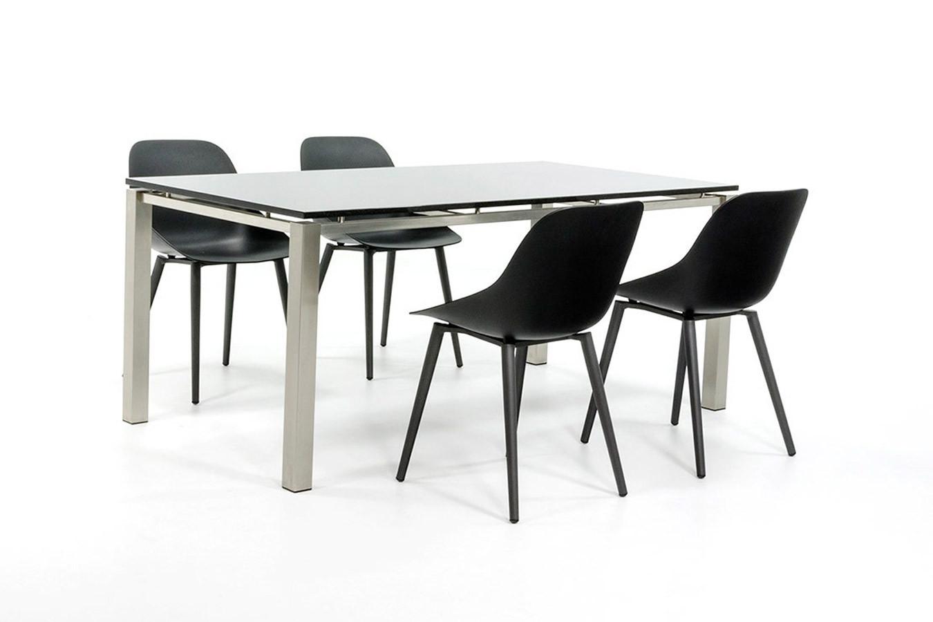 Gartentisch aus Edelstahl mit 4 modernen Gartenstühlen