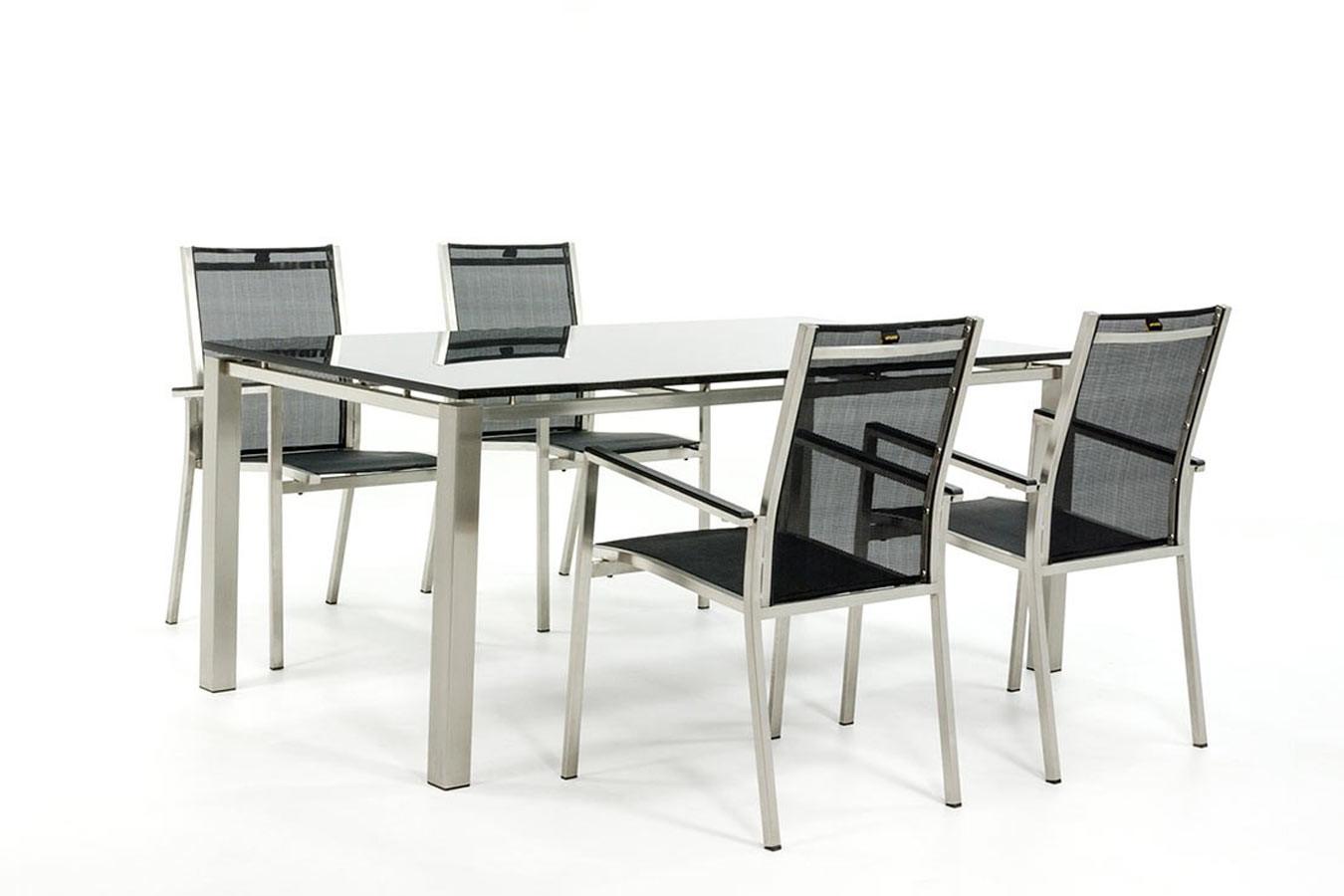 Gartentisch aus Edelstahl mit Stühlen aus Edelstahl