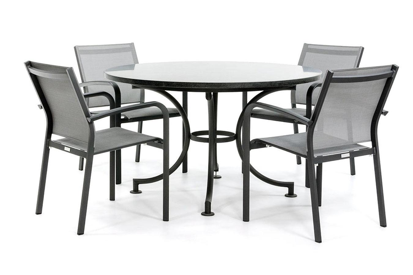 Runder Gartentisch mit Granitplatte
