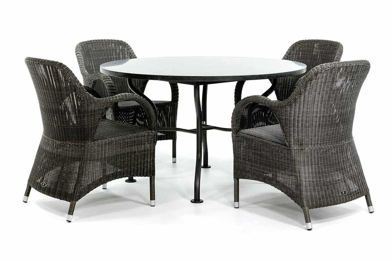 Runder Gartentisch aus Granit mit Stühlen