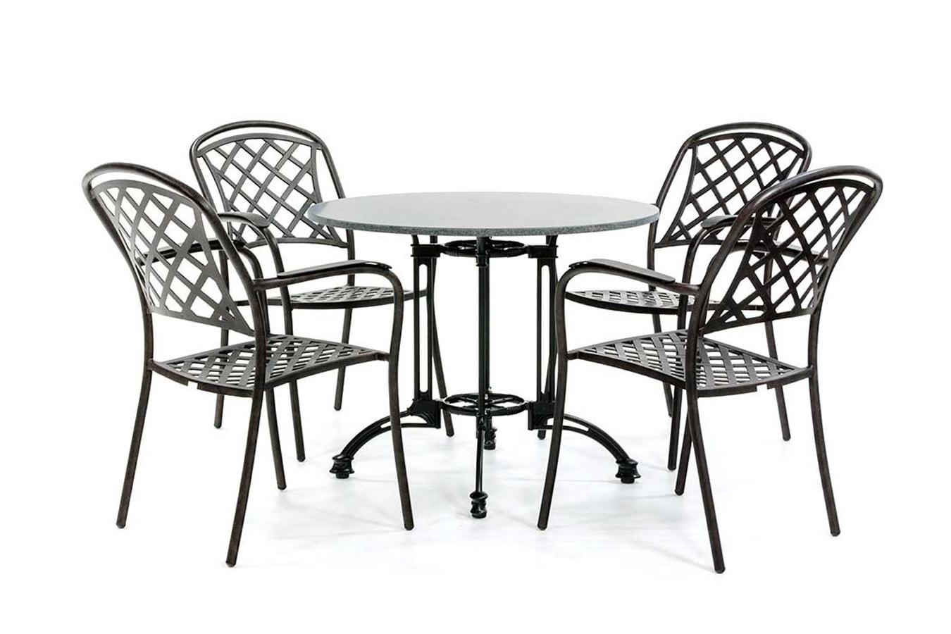 Granit-Bistro-Set mit 4 klassischen Stühlen