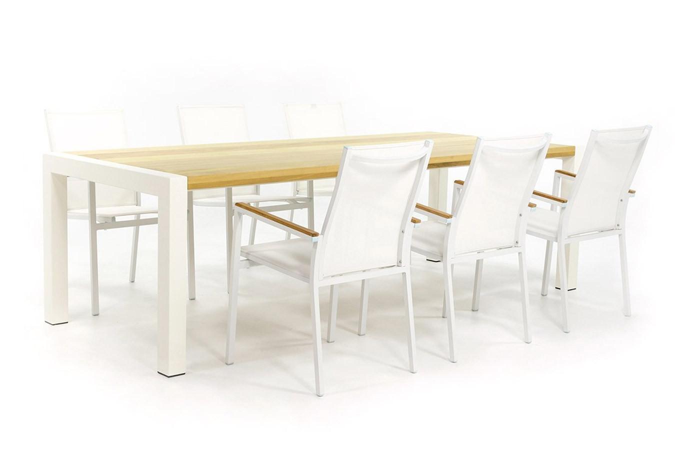 Weißer Gartentisch mit Hartholz Tischplatte