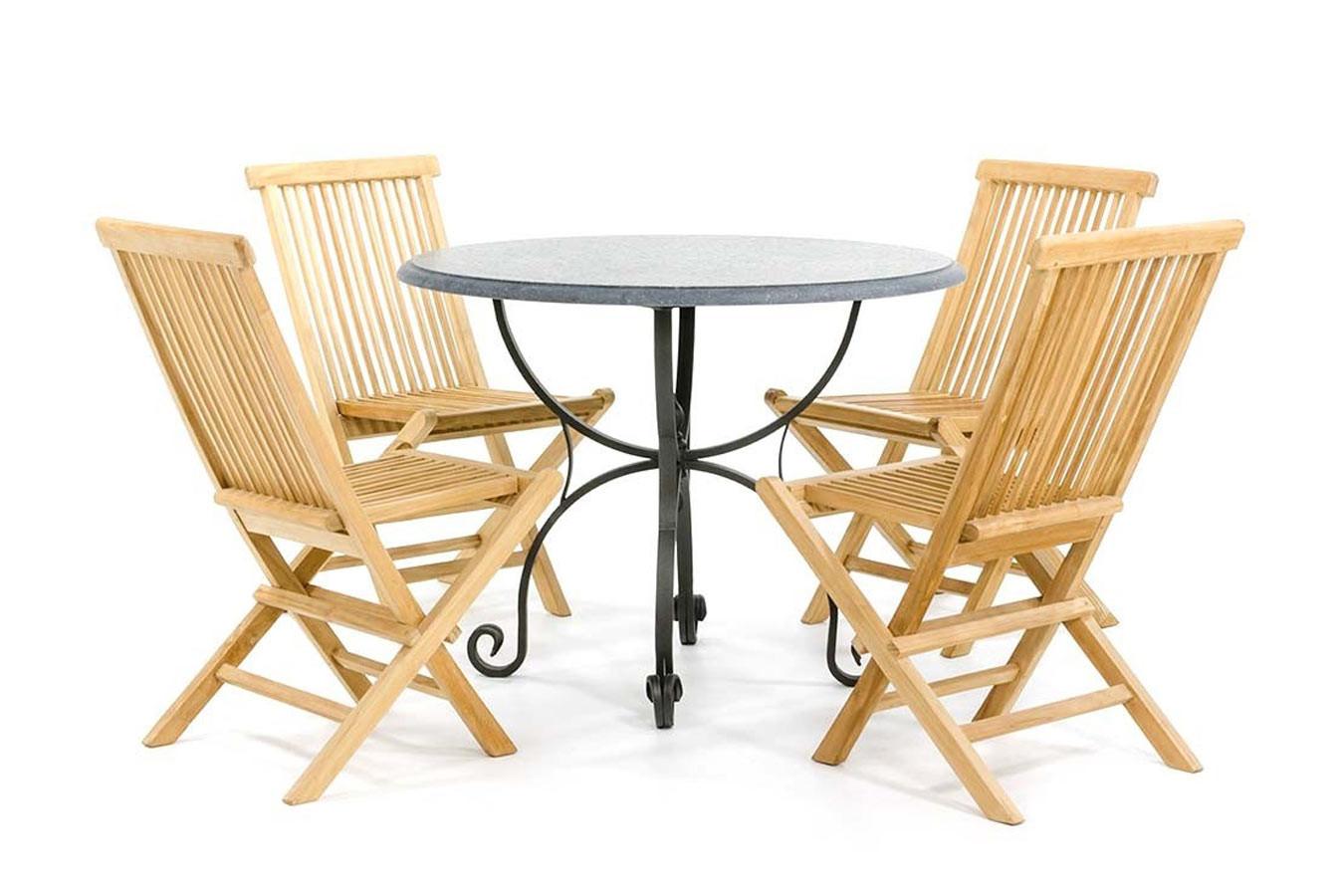 Runder Steingartentisch mit schmiedeeisernem Gestell