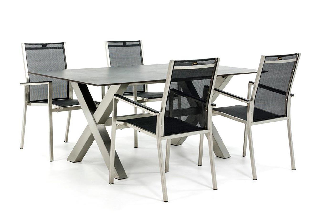 Edelstahl Gartenset mit Dekton Tischplatte und Gartenstühlen