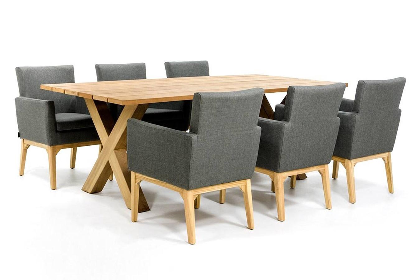 Gartentisch aus Holz mit 6 Outdoor-Textilstühlen