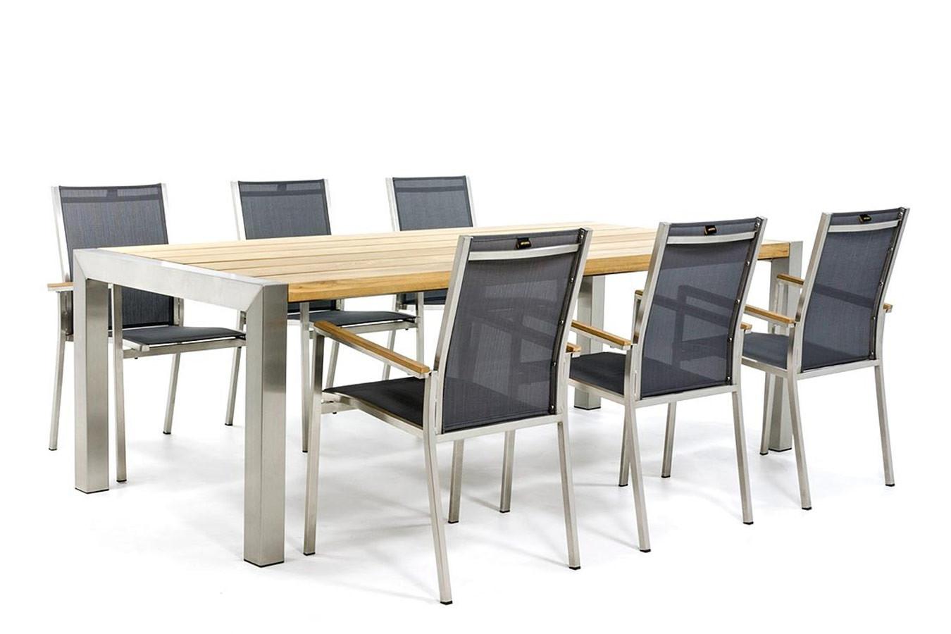 Gartentisch aus Edelstahl mit Tischplatte aus Teak und Stühlen aus Edelstahl