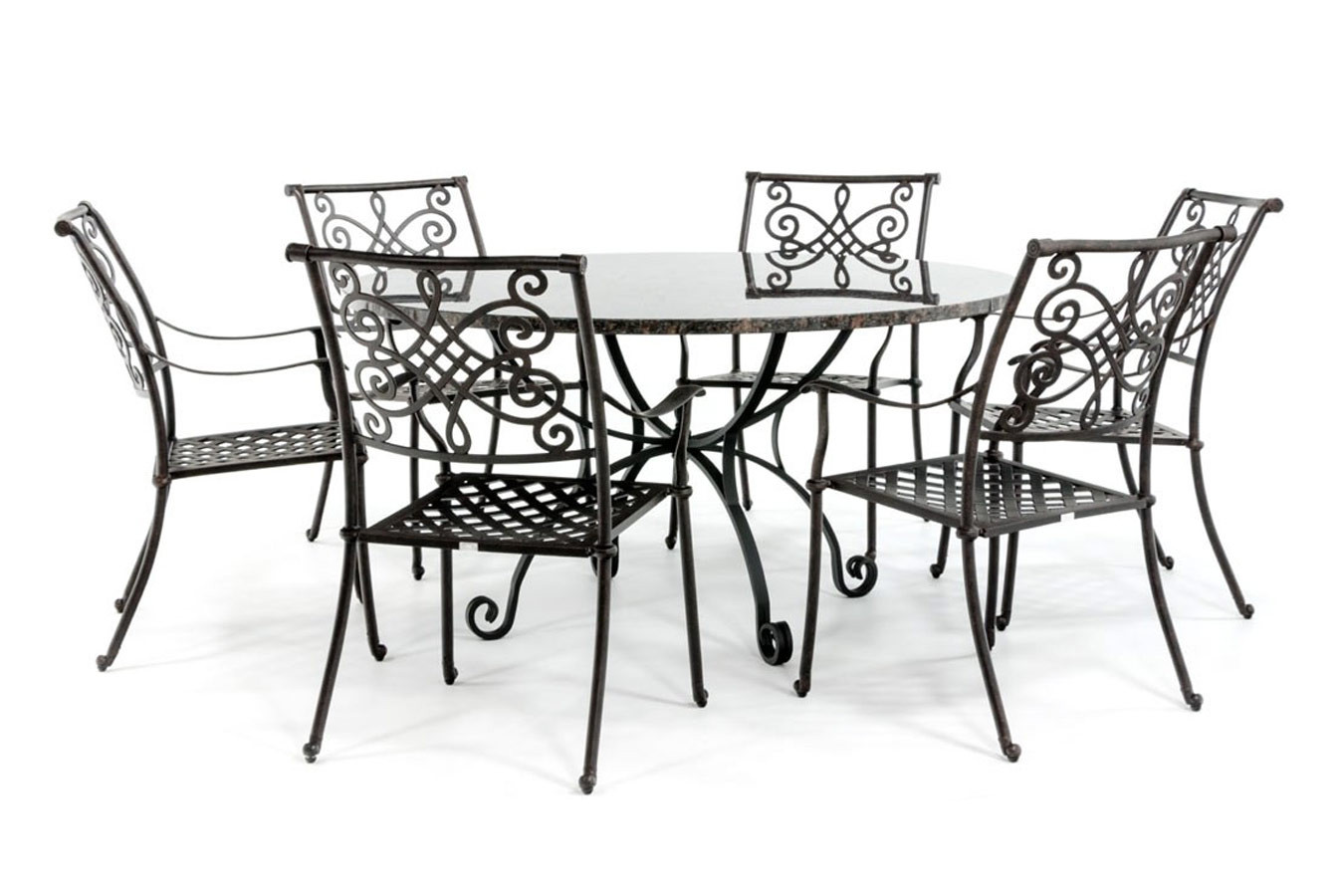 Runder Gartentisch mit Granitplatte und schmiedeeisernem Fuß