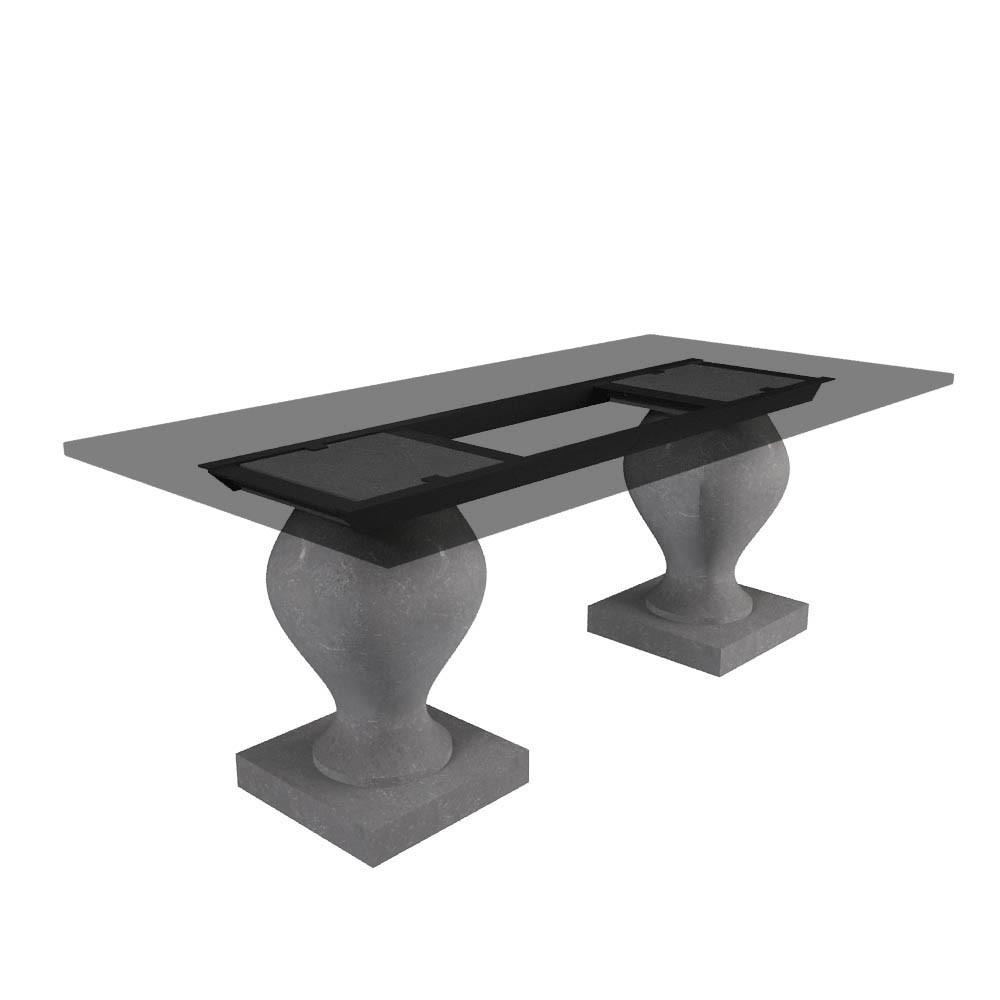 Tischgestell Barok chinesischer Kalkstein (geschliffen)