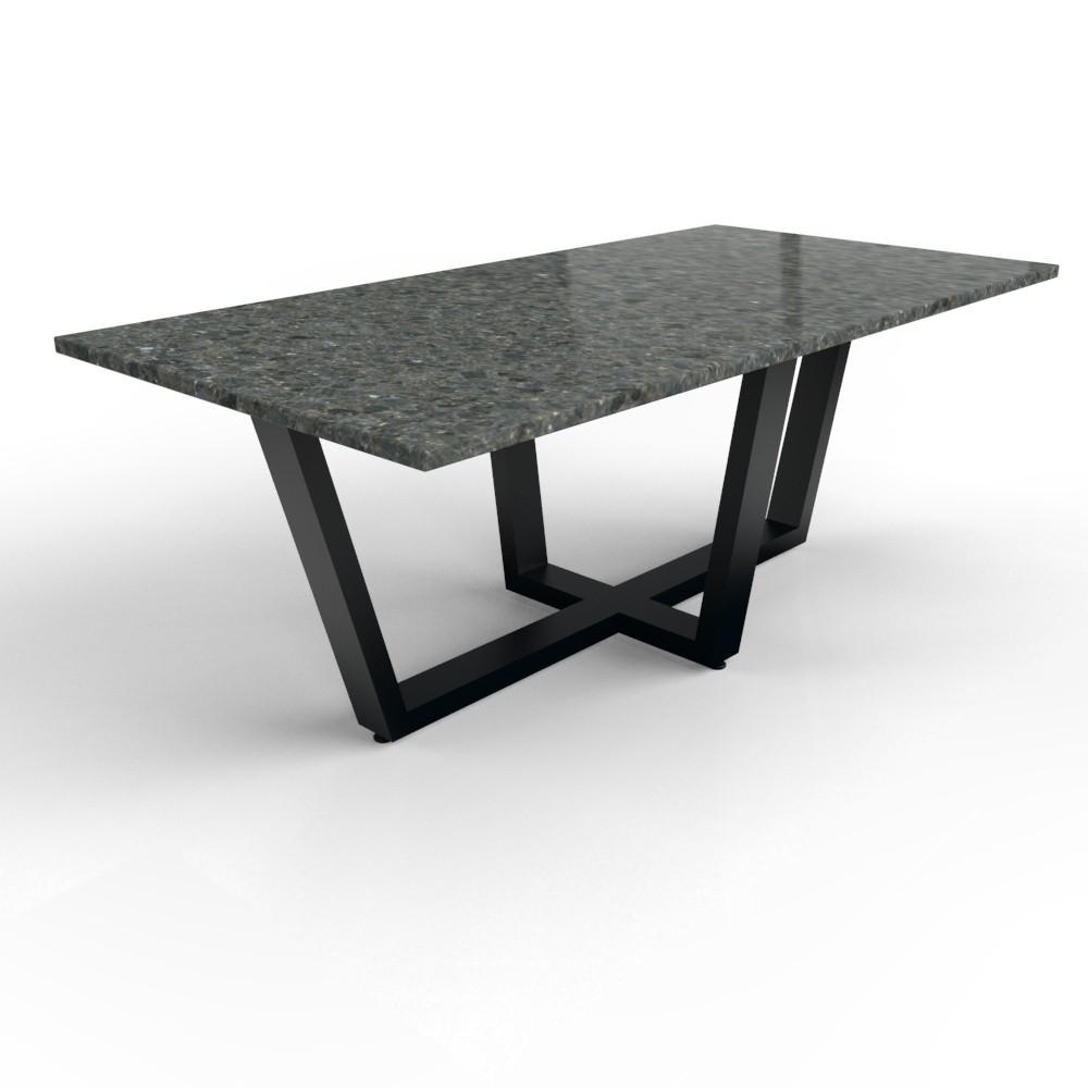 Granit Tisch mit beschichtetem Stahl Milano Tischgestell
