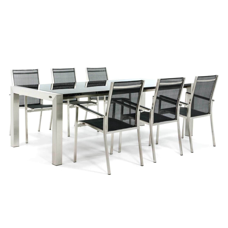 Gartentisch aus Edelstahl mit Tischplatte aus Granit und Gartenstühle aus Edelstahl
