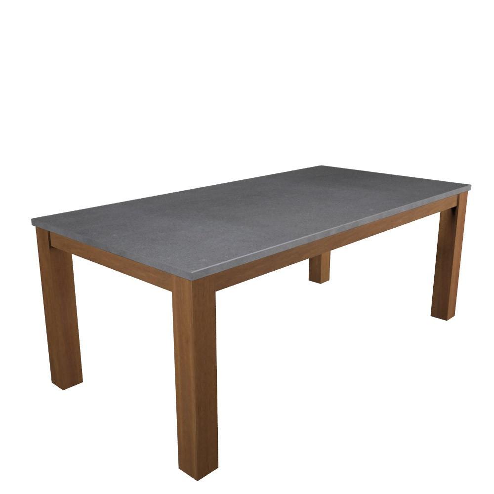 Gartentisch aus Holz mit Steinplatte