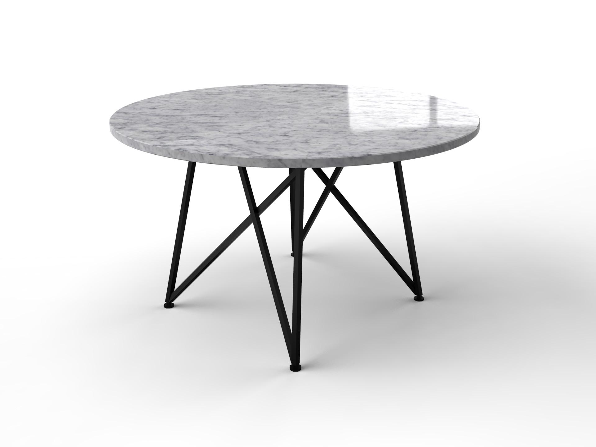Bianco Carrara weißer Marmortisch mit schwarzem Genuasockel
