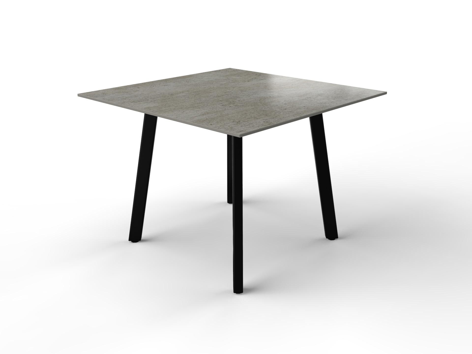 Quadratischer Esstisch in Betonoptik mit Gestell aus schwarz beschichtetem Stahl