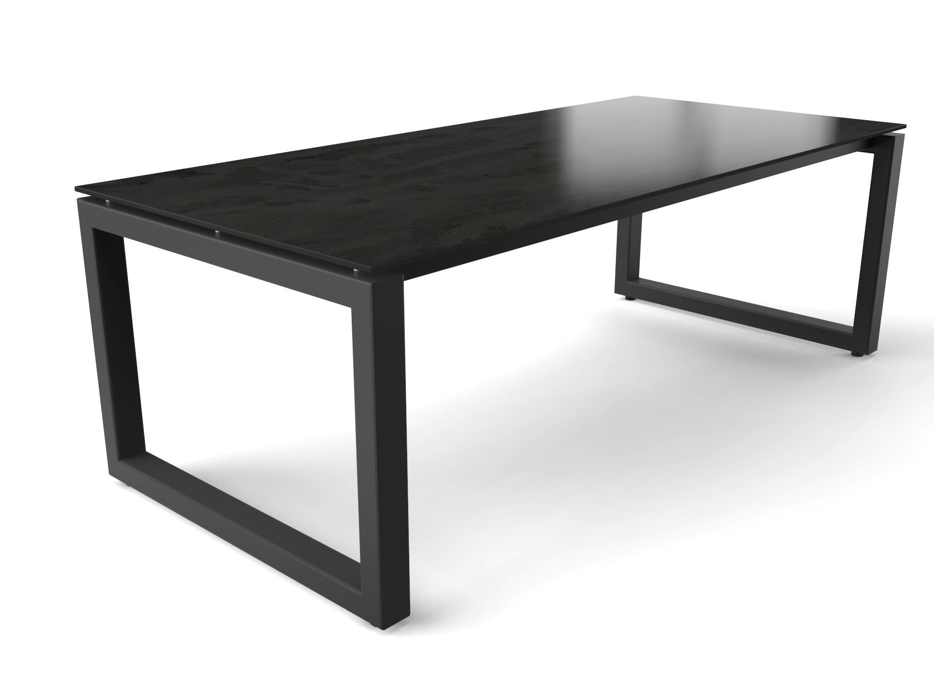 Stahltisch mit keramischer Dekton Radium Tischplatte