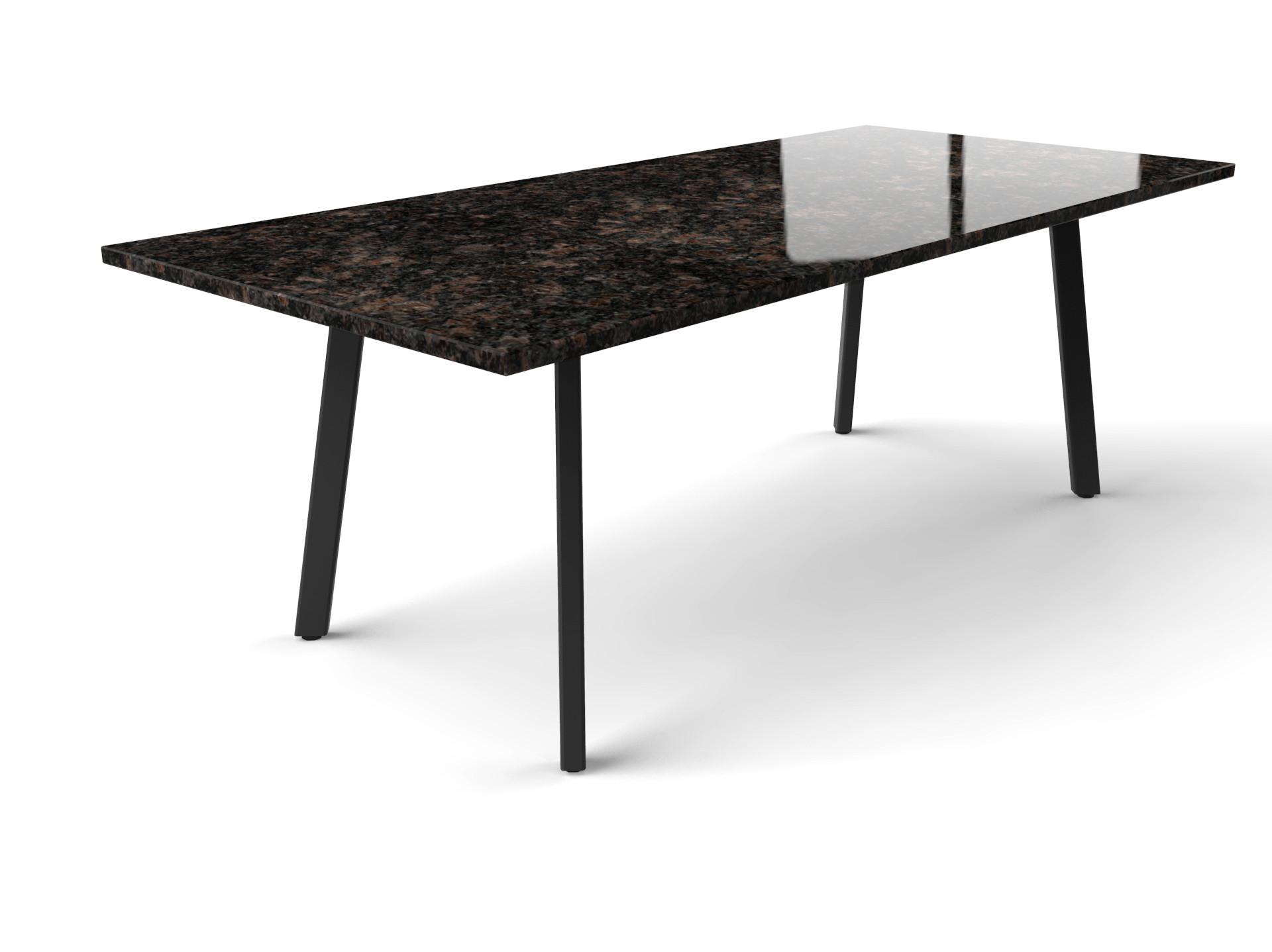 Esstisch aus Granit mit Imperia-Tischgestell aus beschichtetem Stahl