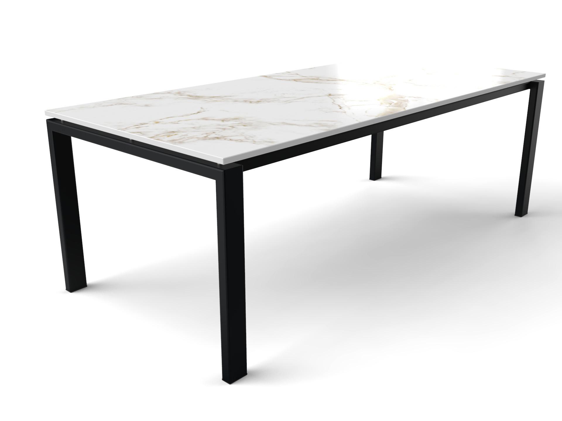 Dekton Entzo Esstisch mit schwarz beschichtetem Ferrara Tischgestell