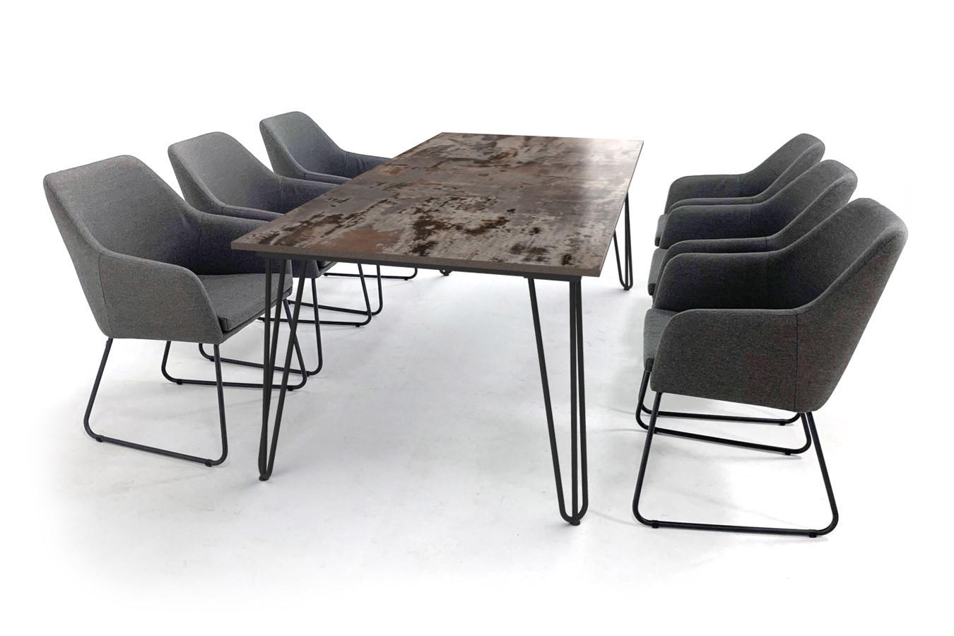 Dekton Trilium Gartentisch mit Gestell aus Stahlhaarnadel und Amora Gartenstühlen