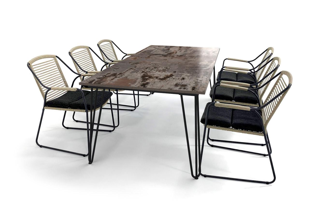 Gartentisch im skandinavischen Design mit Haarnadelbeinen, Dekton Trilium Tischplatte und Scandic Gartenstühlen von 4SO