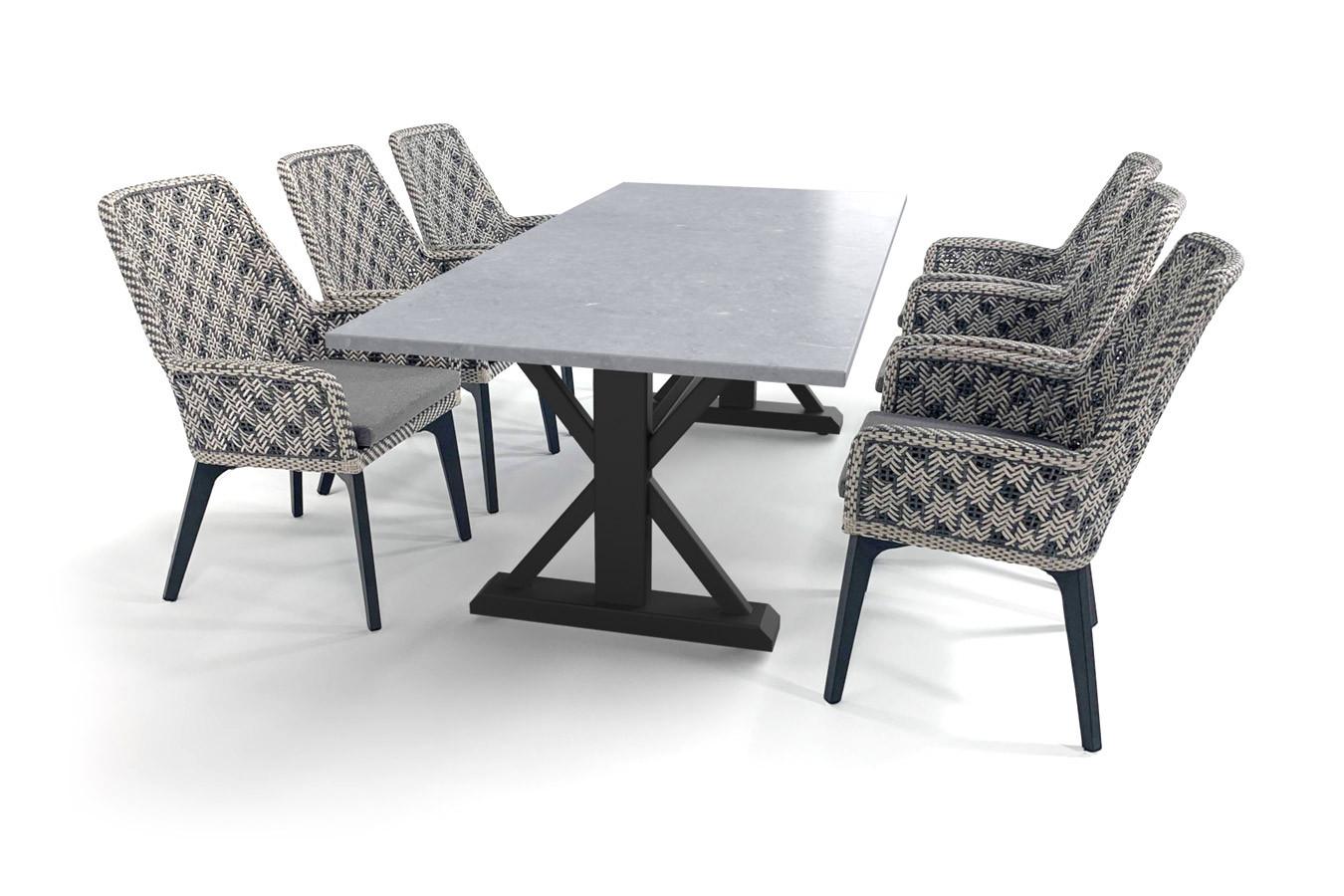 Robuster Gartentisch mit Tischplatte aus belgischem Hartstein (geschliffen) in Betonoptik und Savoy-Stühlen