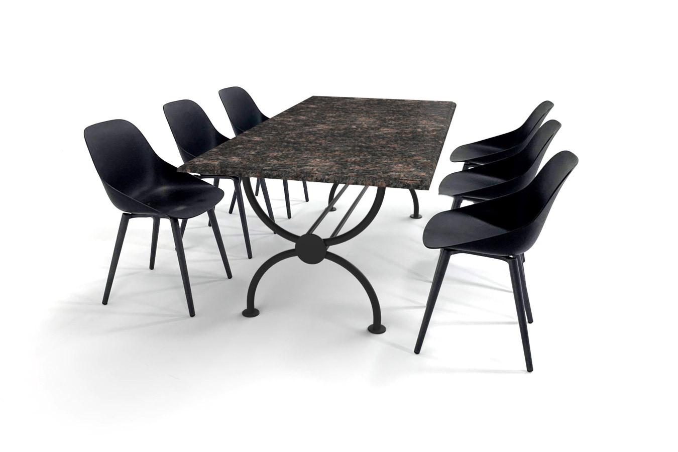 Klassischer Granit-Gartentisch mit elegantem Rondo-Tischgestell und Schalensitzen