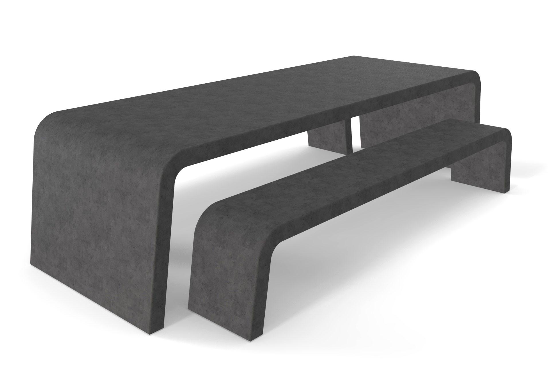 Antracieten betonlook Liv tuintafel met twee betonlook banken