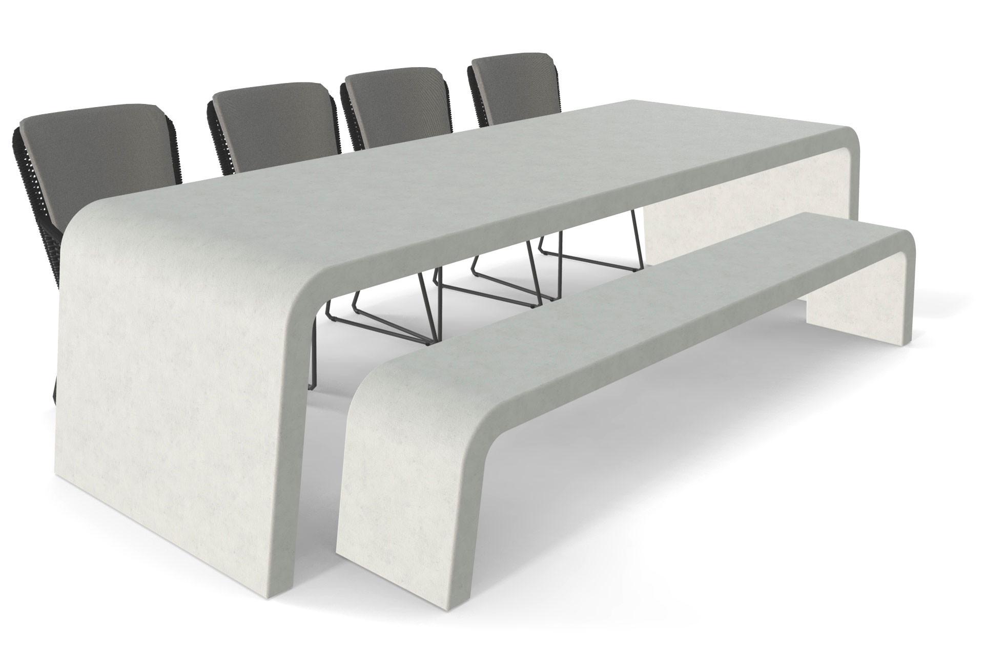 Betonlook tuintafel met bank en stoelen