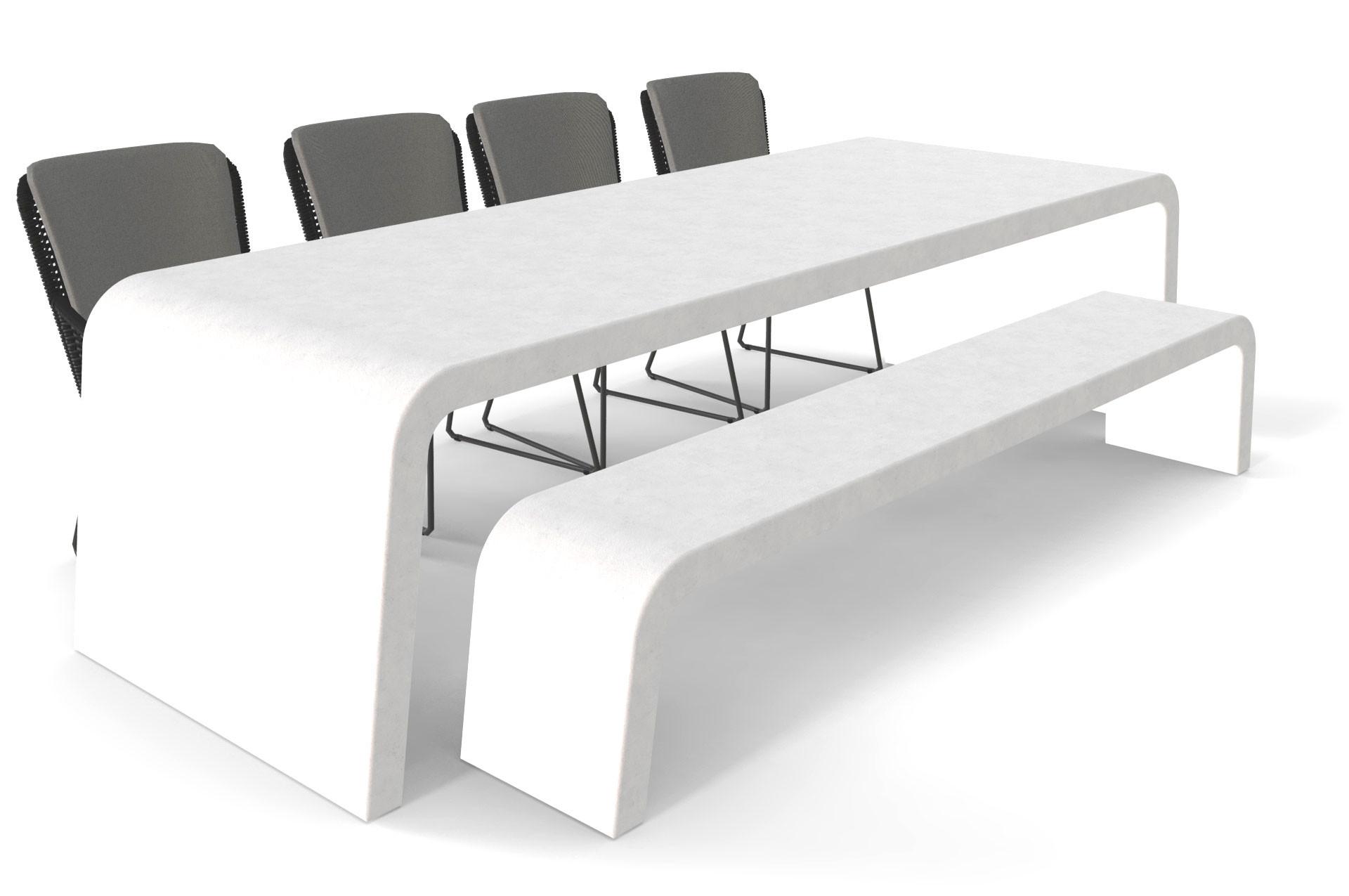 Witte betonlook tuintafel met bank en stoelen