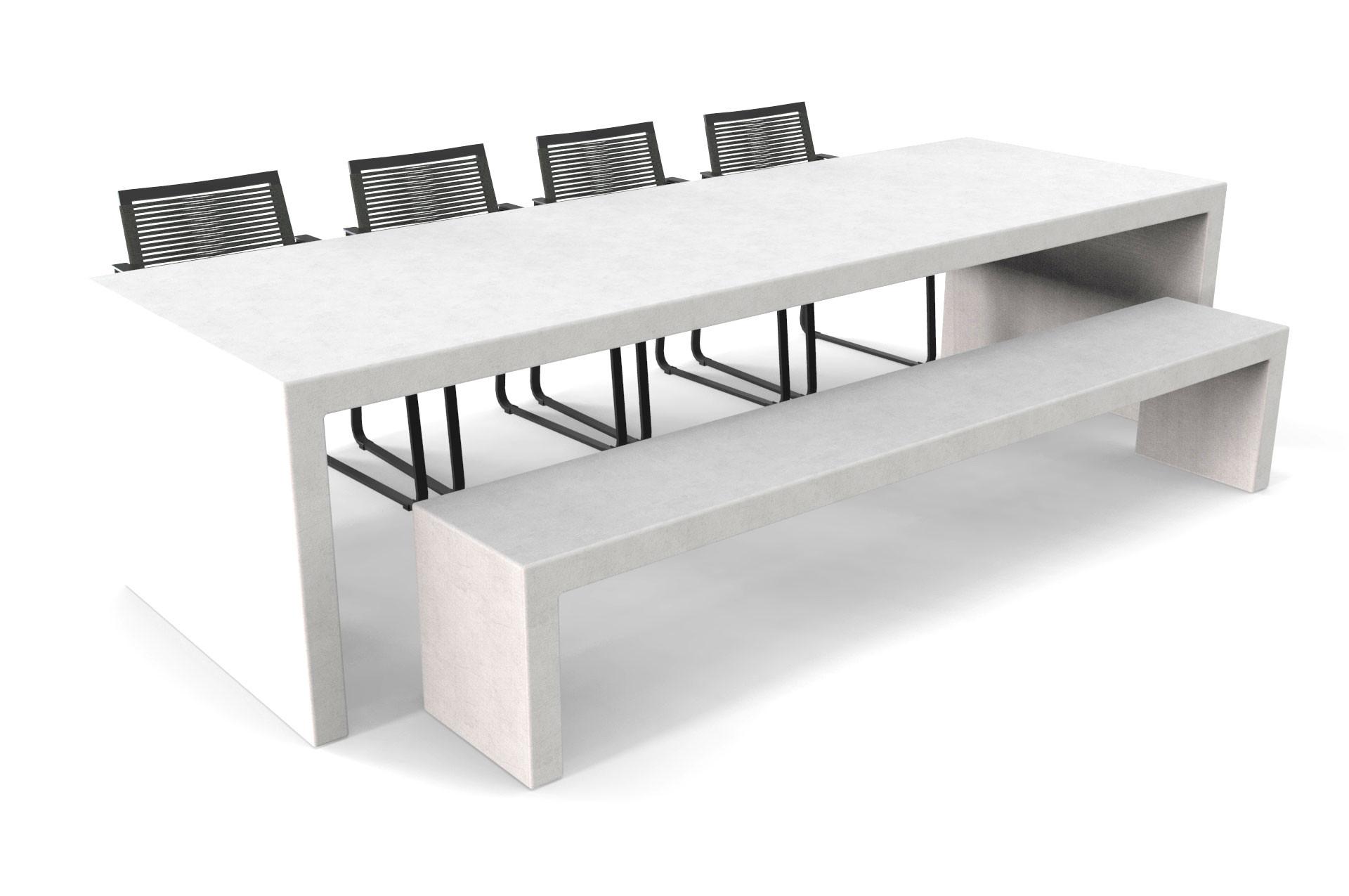 Witte betonlook tafel Lars met bank en stoelen