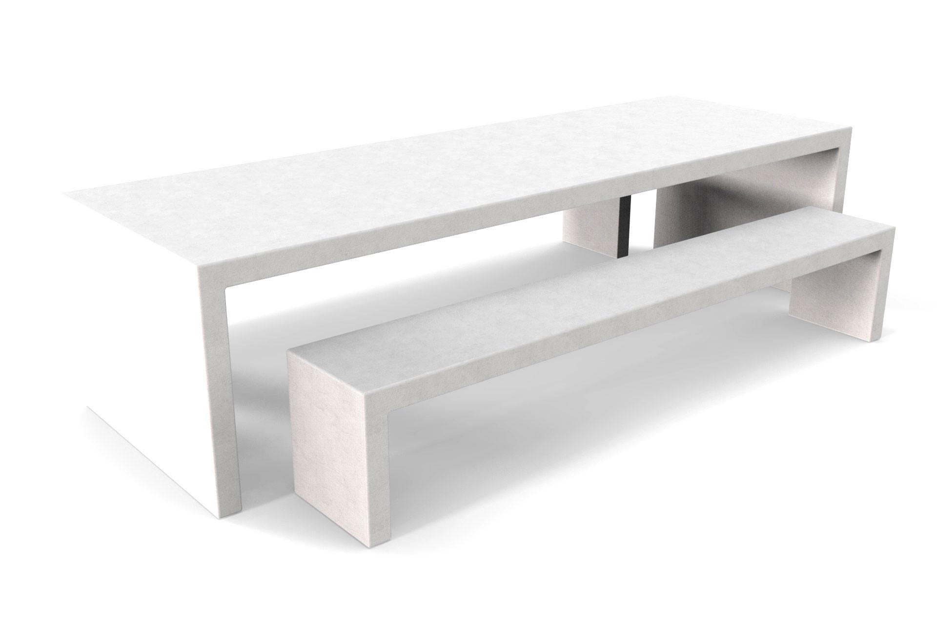 Witte Lars betonlook tuintafel met twee betonlook banken
