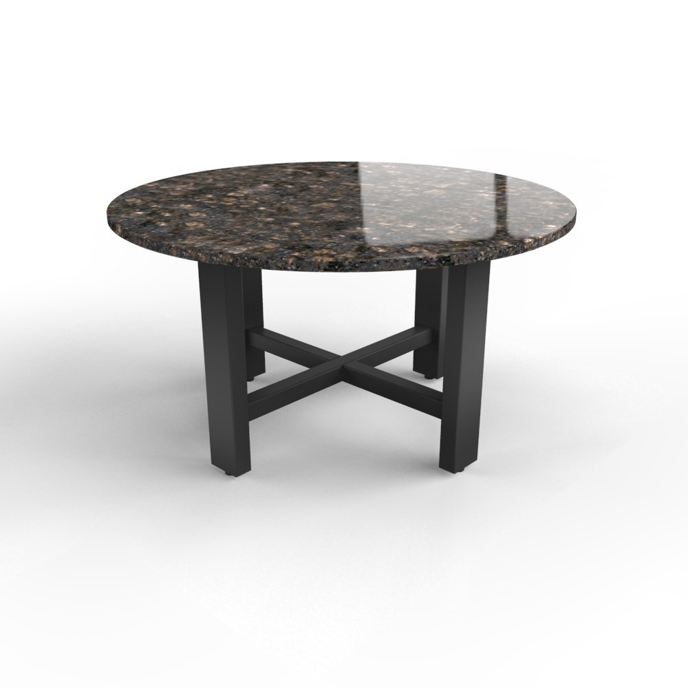 Ronde granieten tafel met robuust stalen Ribolla onderstel